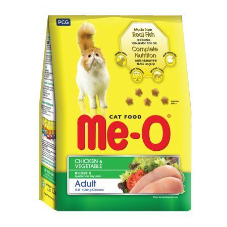 Me-O Adult сухой корм для взрослых кошек всех пород с курицей с овощами
