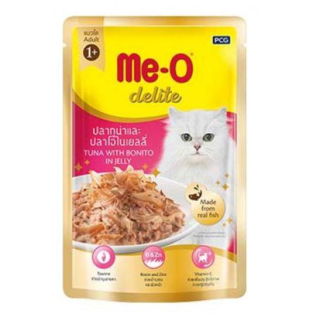 Me-O Delite влажный корм - лакомство для взрослых кошек всех пород с кусочками тунца и атлантической пеламиды