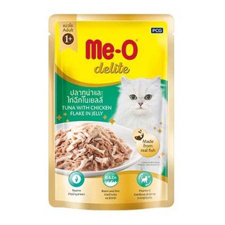 Me-O Delite влажный корм - лакомство для взрослых кошек всех пород с кусочками тунца и курицы