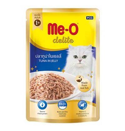 Me-O Delite влажный корм - лакомство для взрослых кошек всех пород с кусочками тунца в желе