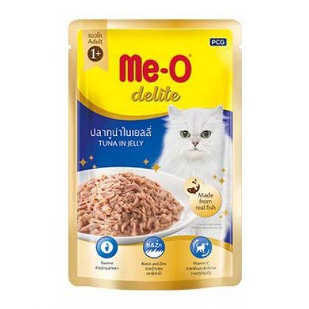 Me-O Delite влажный корм - лакомство для взрослых кошек всех пород с кусочками тунца