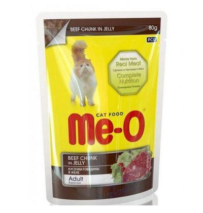 Ме-О влажный корм для взрослых кошек всех пород, кусочки говядины в желе