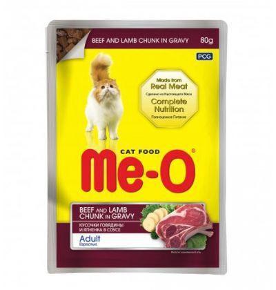 Ме-О влажный корм для взрослых кошек всех пород, говядина с ягненком в соусе