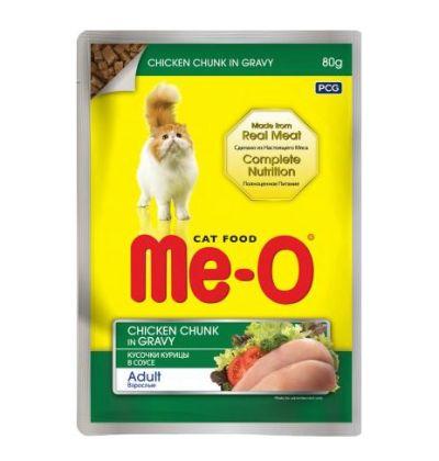 Ме-О влажный корм для взрослых кошек всех пород, кусочки курицы в соусе