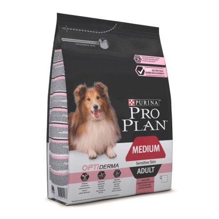 Pro Plan Optiderma сухой корм для взрослых собак средних пород с чувствительной кожей, с лососем