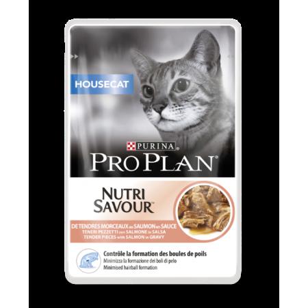 Pro Plan Nutrisavour Housecat для взрослых кошек живущих дома, с лососем в соусе