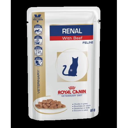 Royal Canin RENAL WITH BEEF влажный корм для взрослых кошек всех пород, при почечной недостаточности, говядина