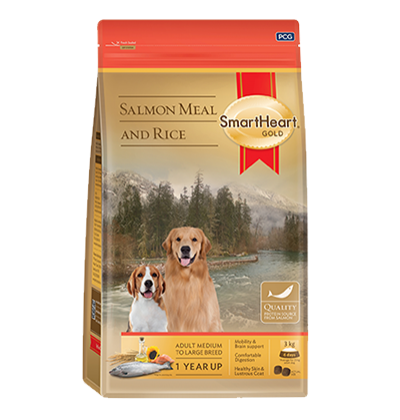 SmartHeart Gold Salmon meal and Rice сухой корм супер-премиум класса для собак всех пород средних и крупных размеров с лососем и рисом