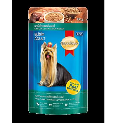 Smart Heart влажный корм для взрослых собак, курица с печенью в желе