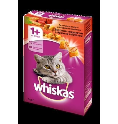 Whiskas вкусные подушечки с нежным паштетом. Аппетитное ассорти с говядиной и кроликом