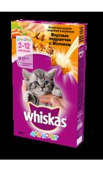 Whiskas для стерилизованных кошек и котов с курицей и вкусными подушечками