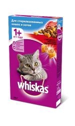 Whiskas для стерилизованных кошек и котов с говядиной и вкусными подушечками