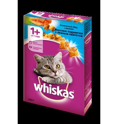 Whiskas Вкусные подушечки с нежным паштетом. Аппетитный обед с лососем
